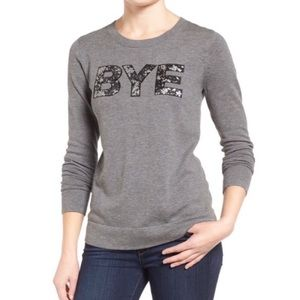 HALOGEN Sequin Bye Graphic Pullover Sweater Cotton